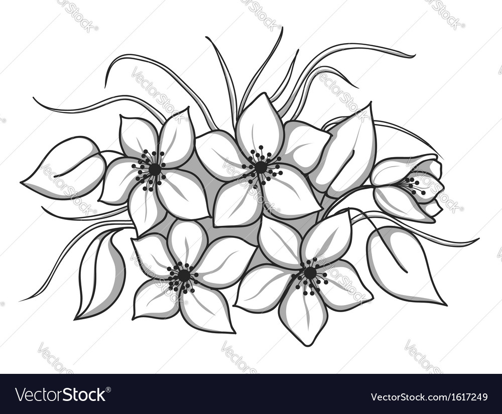 Black-and-white bouquet of flowers with leaves and vector | Price: 1 Credit (USD $1)