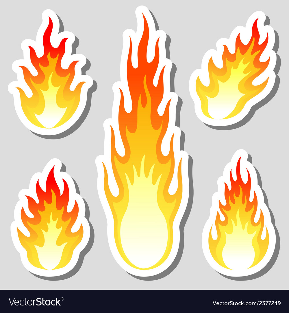 Fire flame stickers set vector | Price: 1 Credit (USD $1)