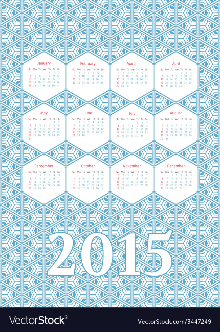 Geometric calendar 2015 vector | Price: 1 Credit (USD $1)