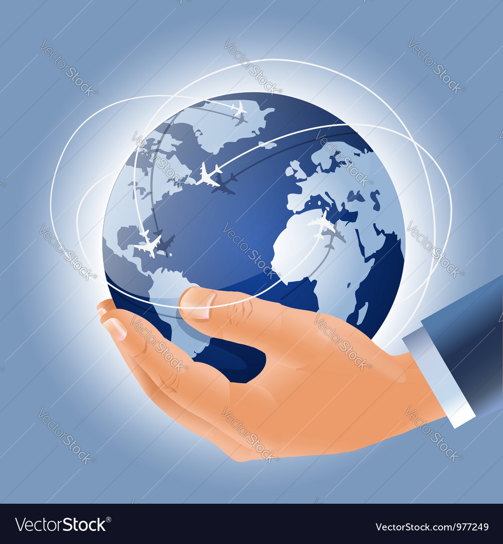 Holding earth in a hand vector | Price:  Credit (USD $)
