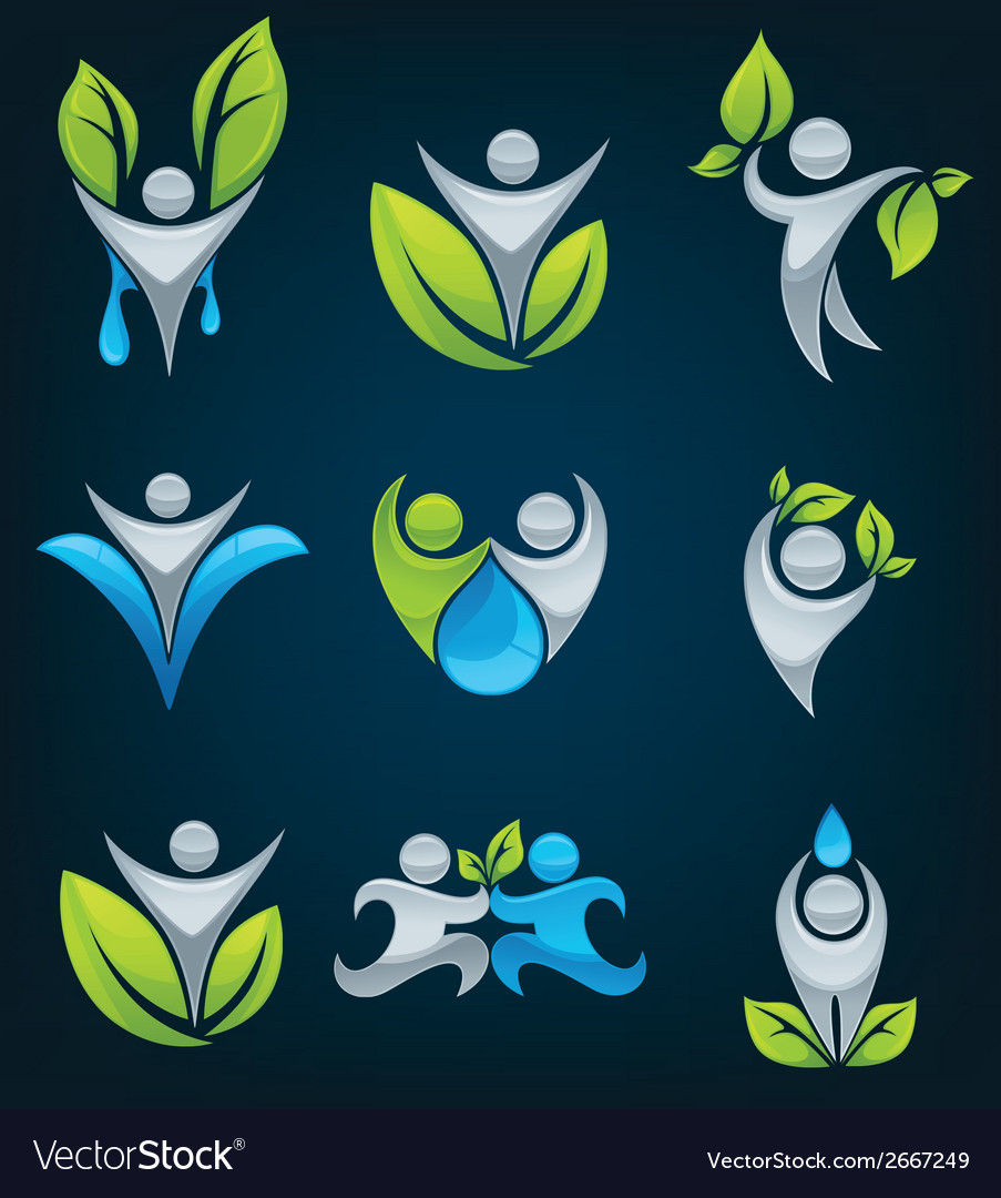 Large eco people collection vector | Price: 1 Credit (USD $1)