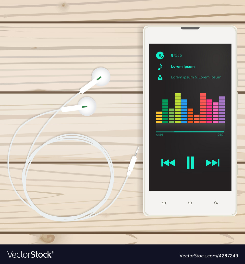 Mobile audio app mobile on a wooden table vector | Price: 1 Credit (USD $1)