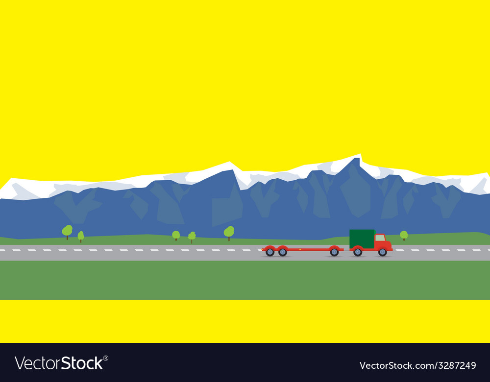 Red car on the way on background of mountains vector | Price: 1 Credit (USD $1)