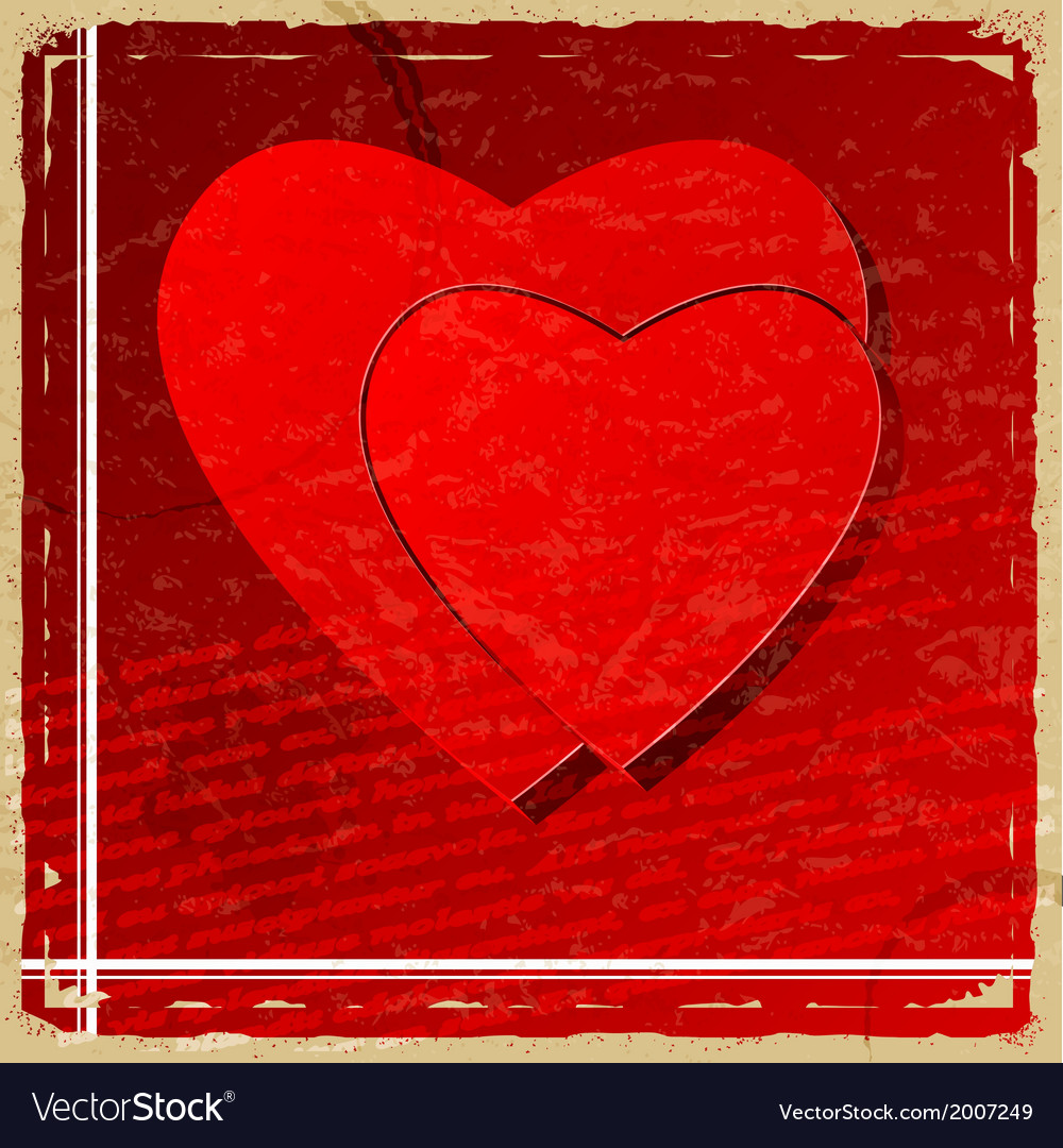 Red heart on vintage background vector | Price: 1 Credit (USD $1)