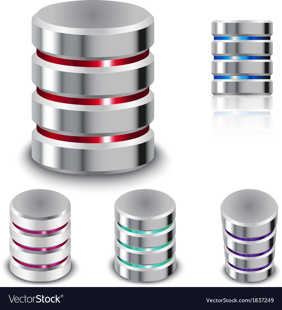 Set database and hard disk icon vector | Price: 1 Credit (USD $1)