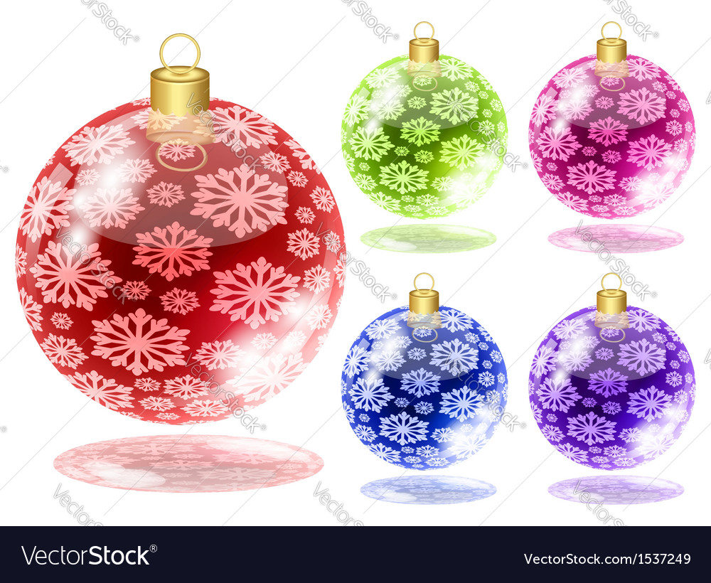 Set of christmas balls with snow isolated on white vector | Price: 1 Credit (USD $1)