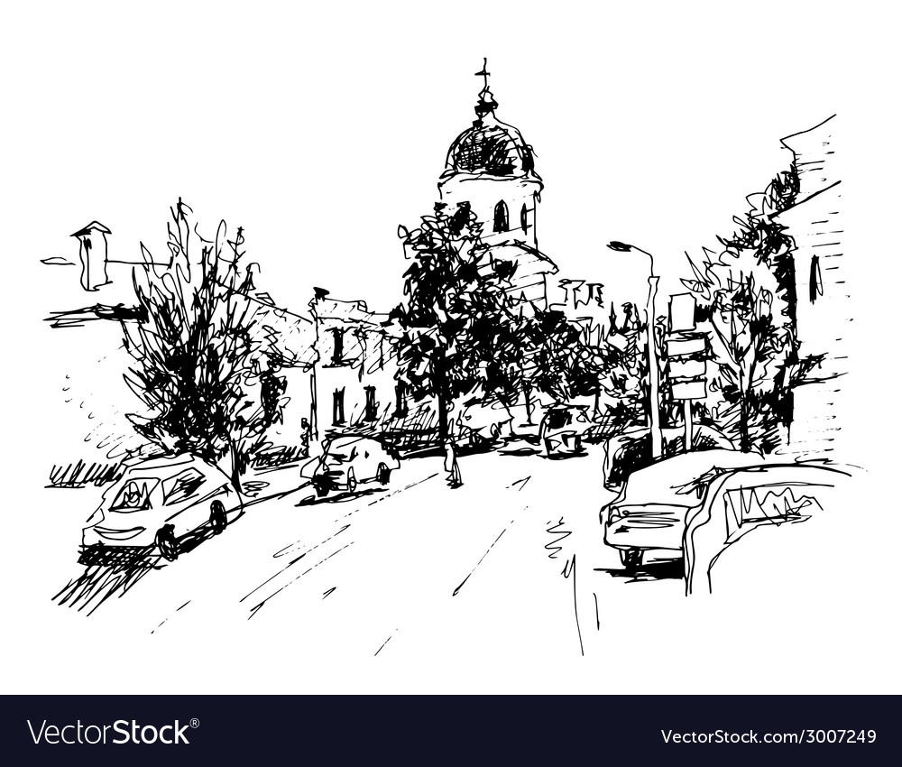 Sketch of kiev historical building ukraine vector | Price: 1 Credit (USD $1)