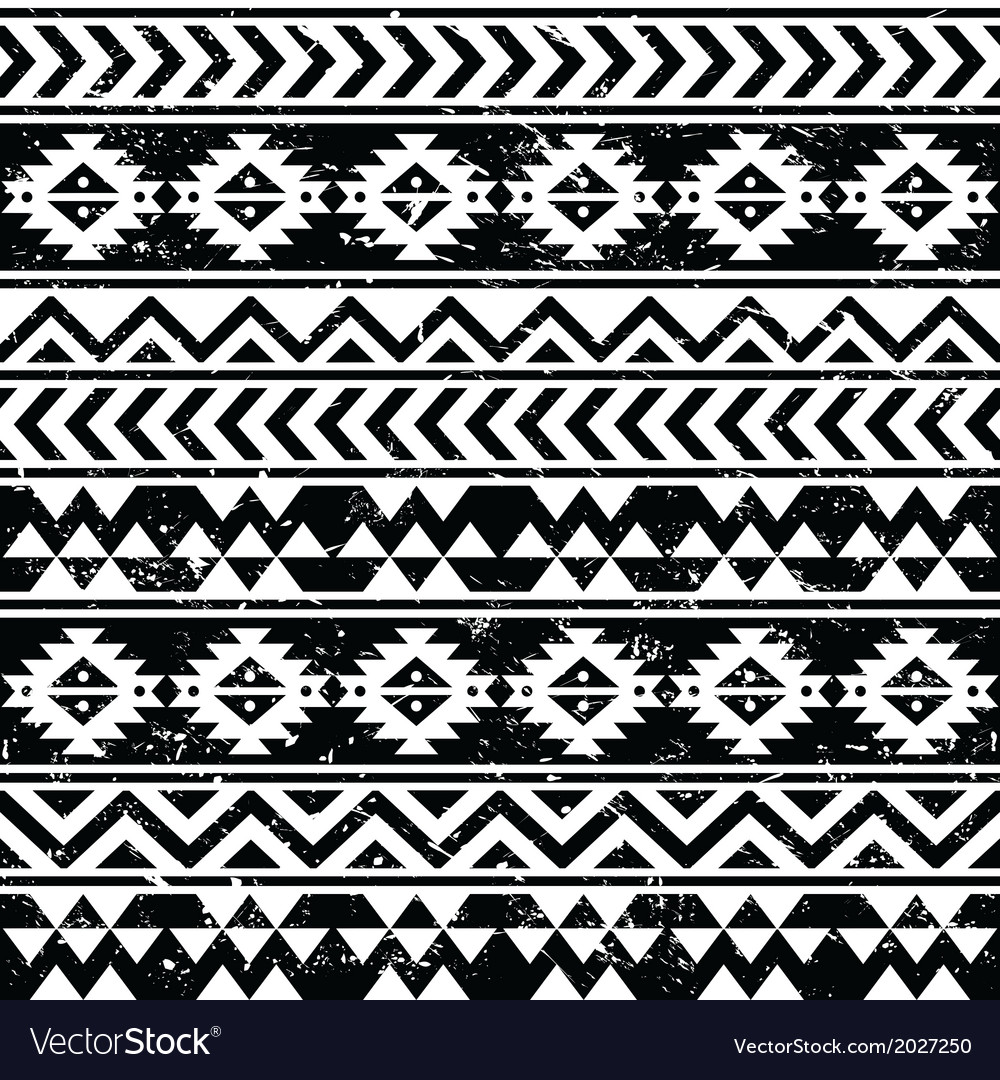 Aztec tribal seamless grunge white pattern vector | Price: 1 Credit (USD $1)