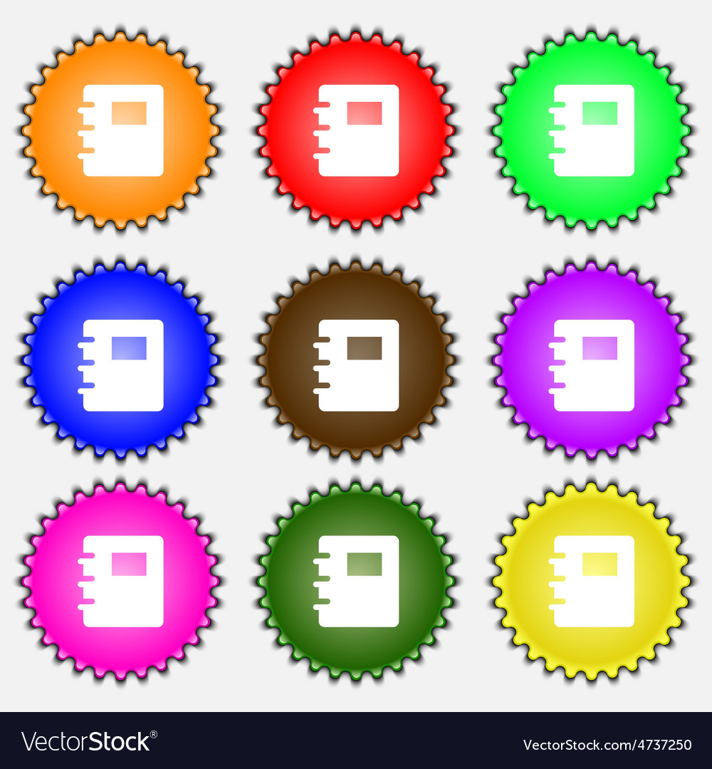 Book icon sign a set of nine different colored vector | Price: 1 Credit (USD $1)