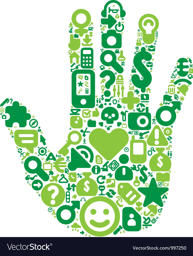 Concept of green human hand vector | Price: 1 Credit (USD $1)
