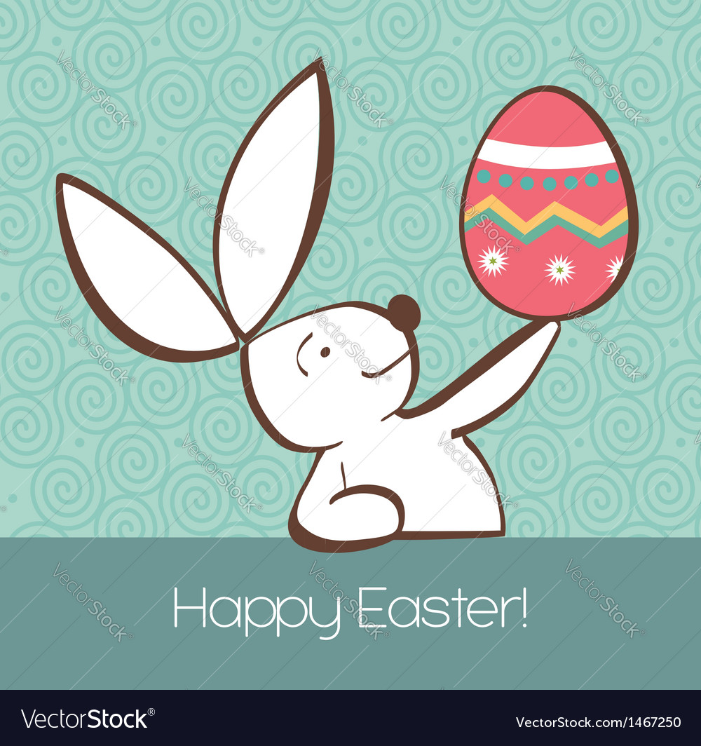 Easter bunny with painted egg vector | Price: 1 Credit (USD $1)