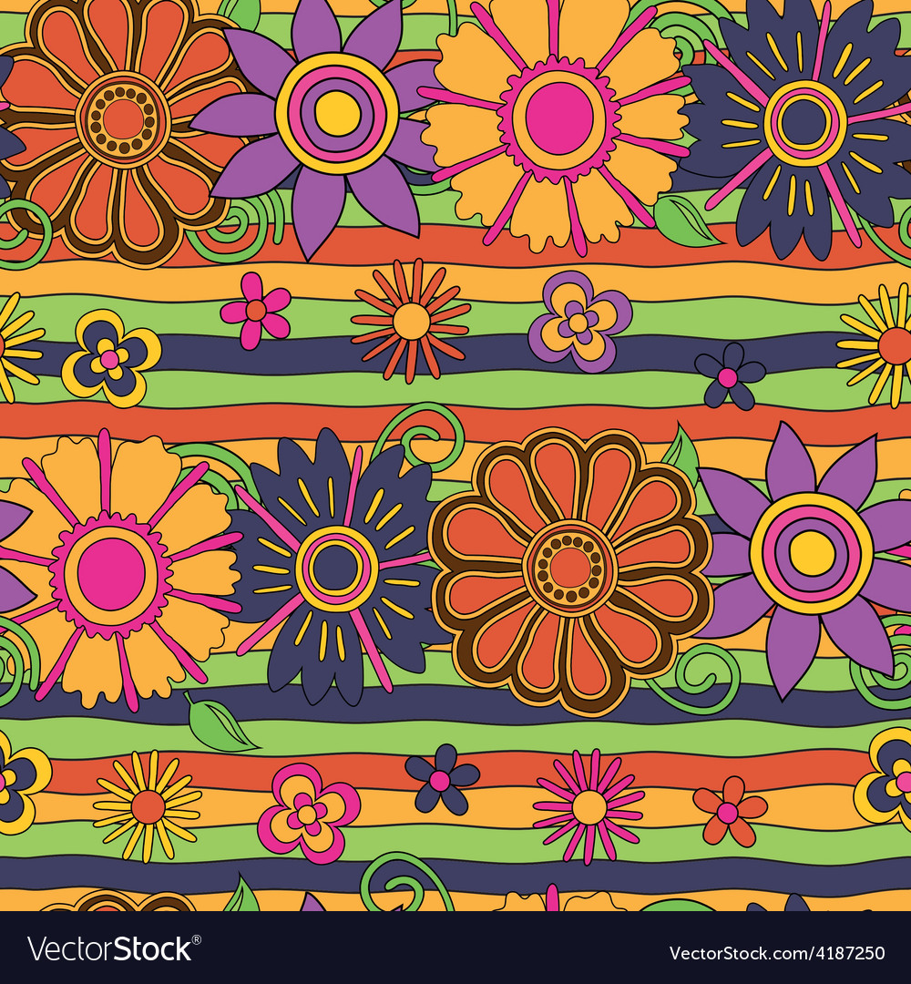 Flowers and stripes psychedelic pattern vector | Price: 1 Credit (USD $1)