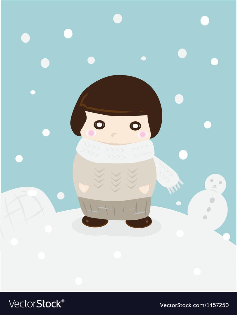 Girl in winter snow cute season greeting vector | Price: 1 Credit (USD $1)