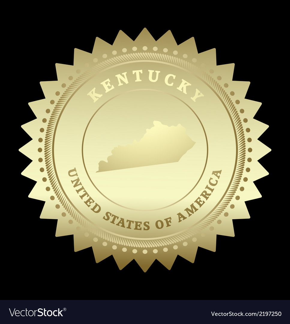 Gold star label kentucky vector | Price: 1 Credit (USD $1)