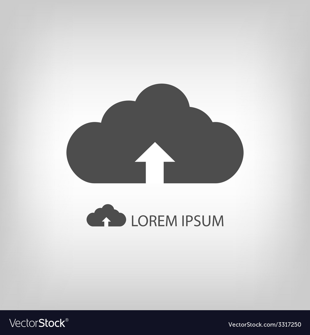 Grey cloud with uploading sign as logo vector | Price: 1 Credit (USD $1)