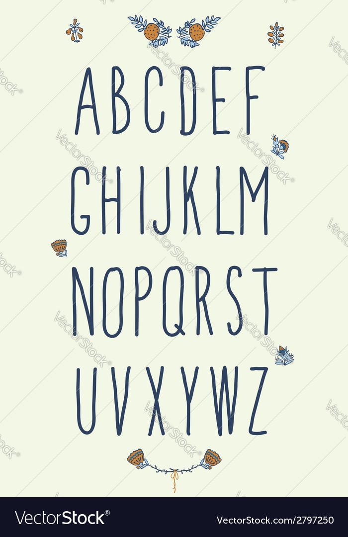 Hand drawn sketch alphabet handwritten font vector | Price: 1 Credit (USD $1)