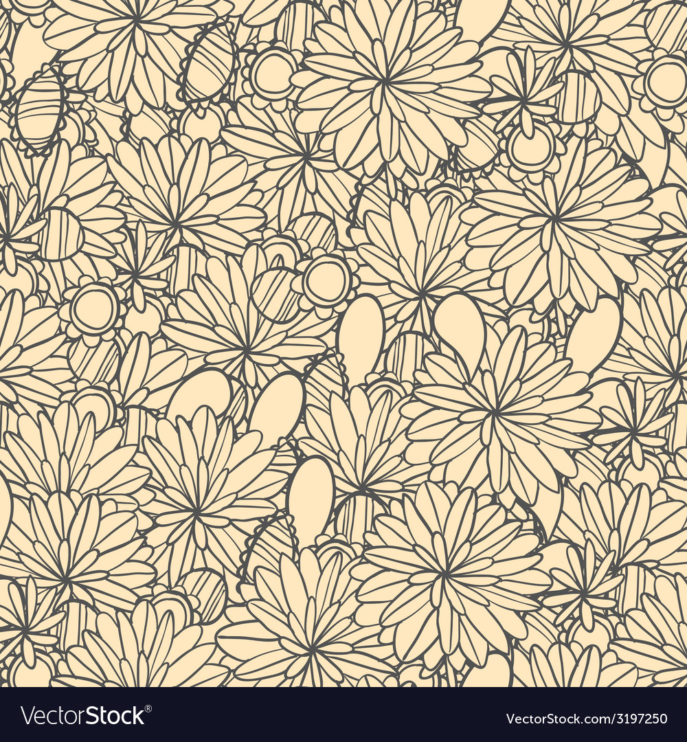 Hand-drawn seamless floral pattern retro colors vector | Price: 1 Credit (USD $1)