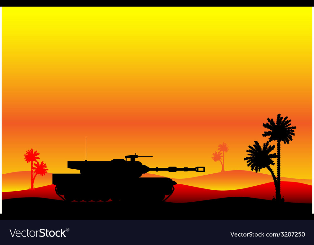Modern heavy tank in desert vector | Price: 1 Credit (USD $1)