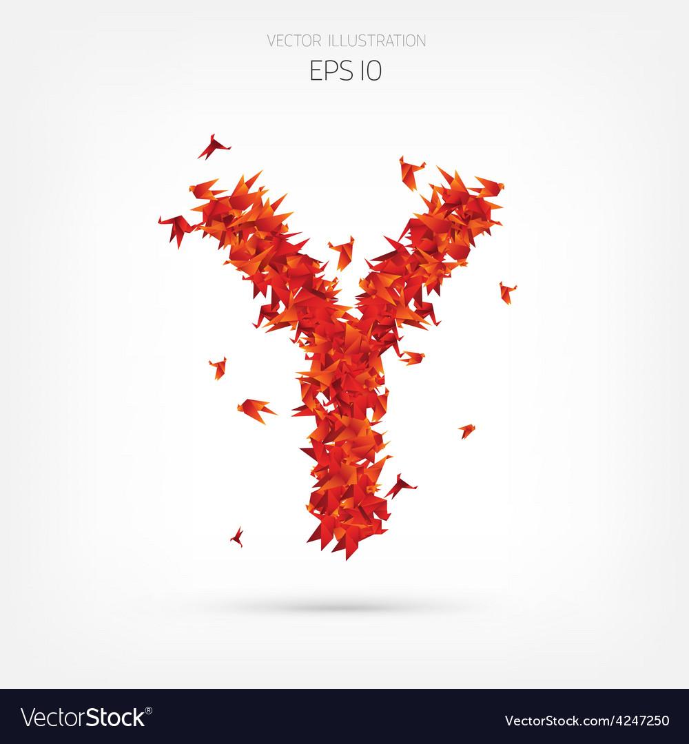 Origami paper birds alphabet letter y vector | Price: 1 Credit (USD $1)