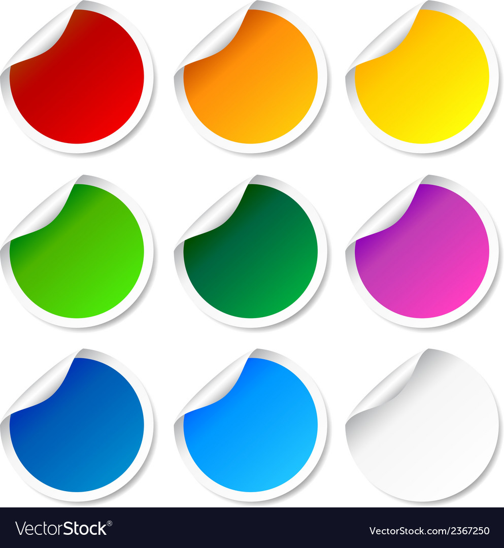 Set of colorful round labels vector   Price: 1 Credit (USD $1)