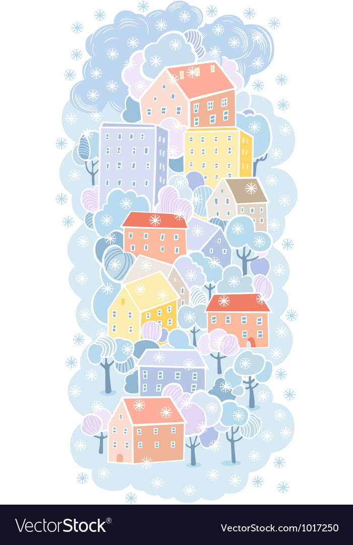 Winter town background vector | Price: 1 Credit (USD $1)