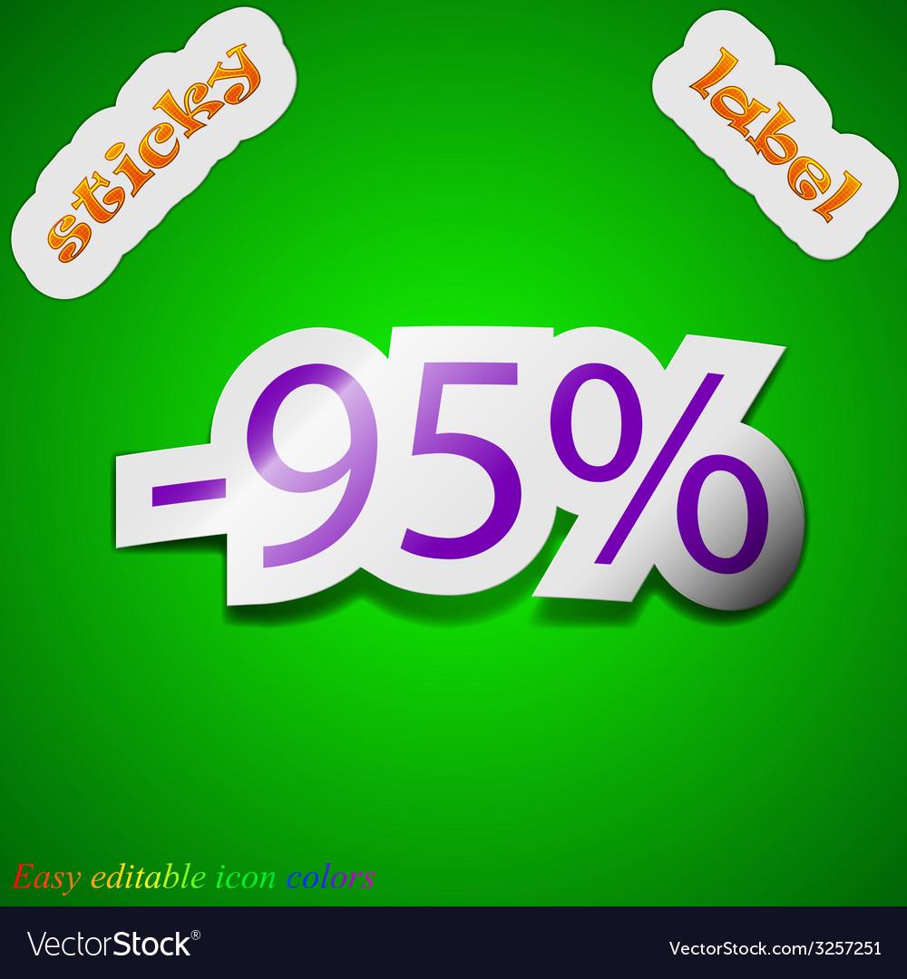 95 percent discount icon sign symbol chic colored vector | Price: 1 Credit (USD $1)