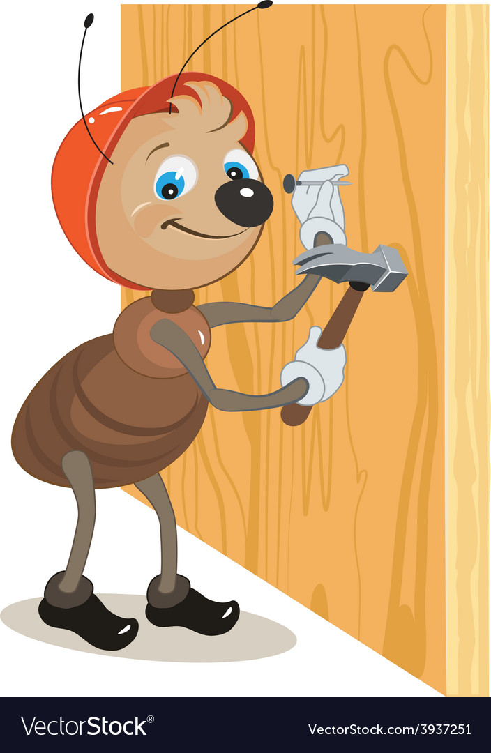 Ant builder hammers a nail hammered into a wooden vector | Price: 1 Credit (USD $1)