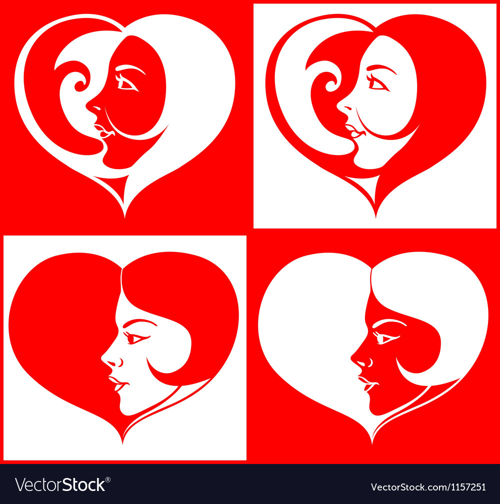Beautiful girl face in heart shape vector | Price: 1 Credit (USD $1)