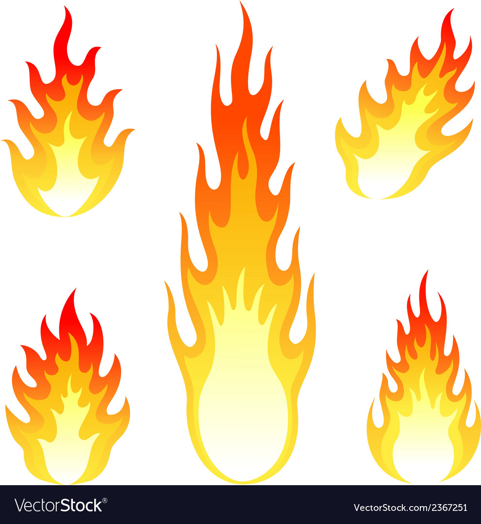 Burning fire and flame set isolated on white vector | Price: 1 Credit (USD $1)