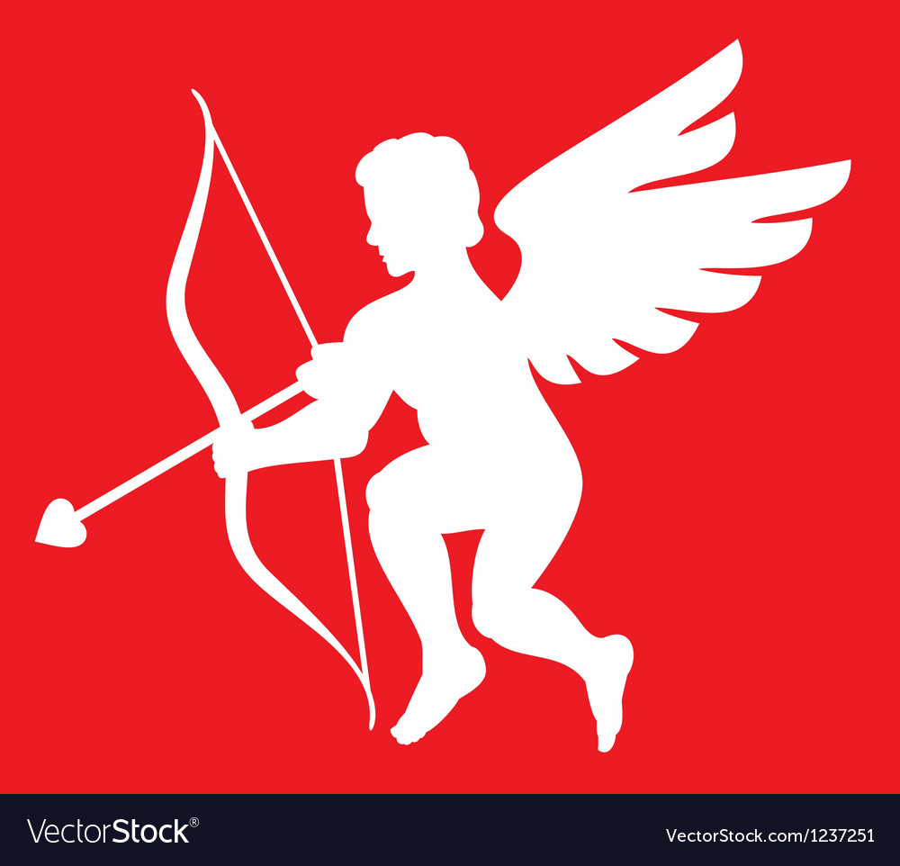 Cupid silhouette isolated on white vector | Price: 1 Credit (USD $1)