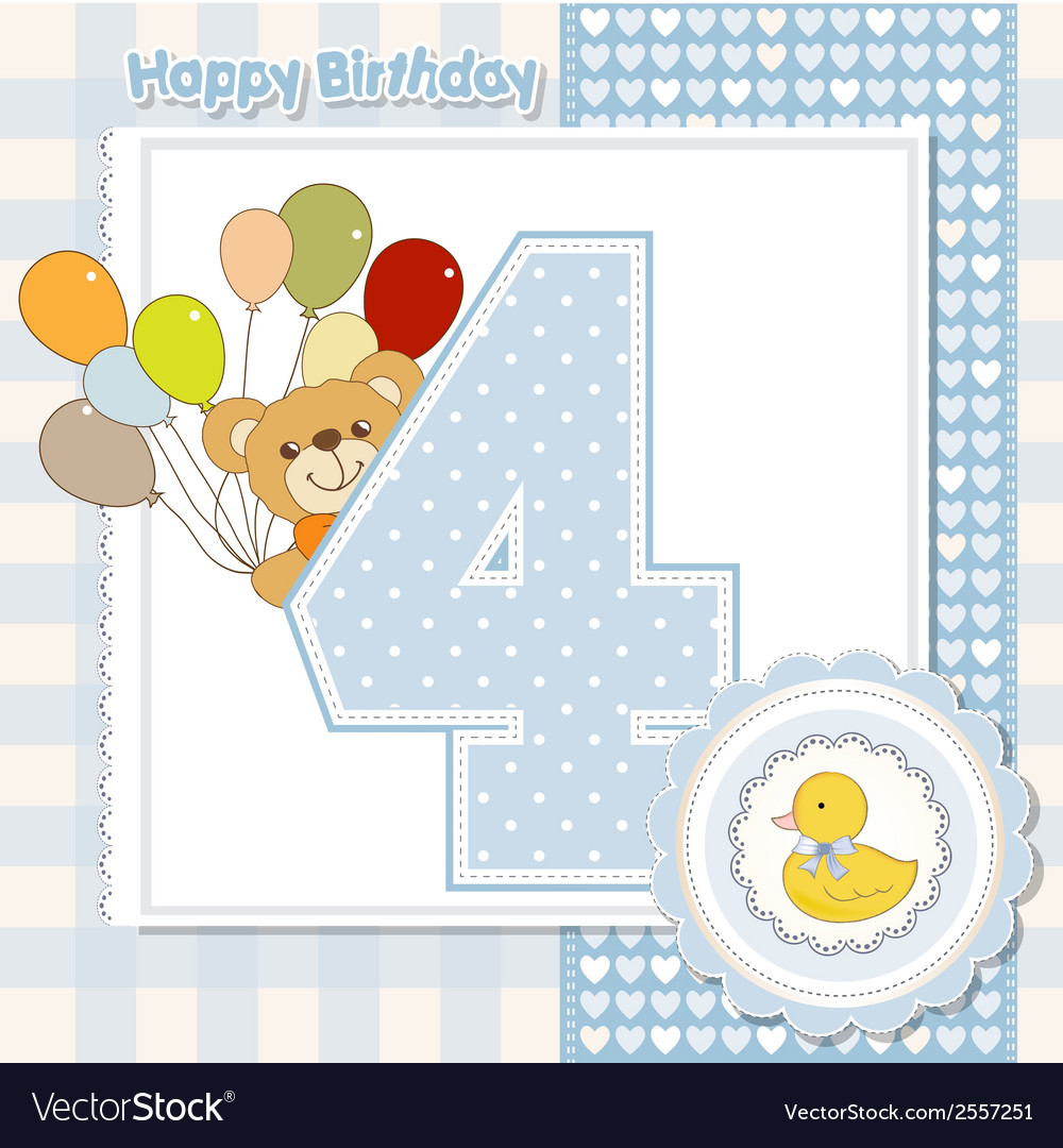 Fourth anniversary of the birthday card vector | Price: 1 Credit (USD $1)