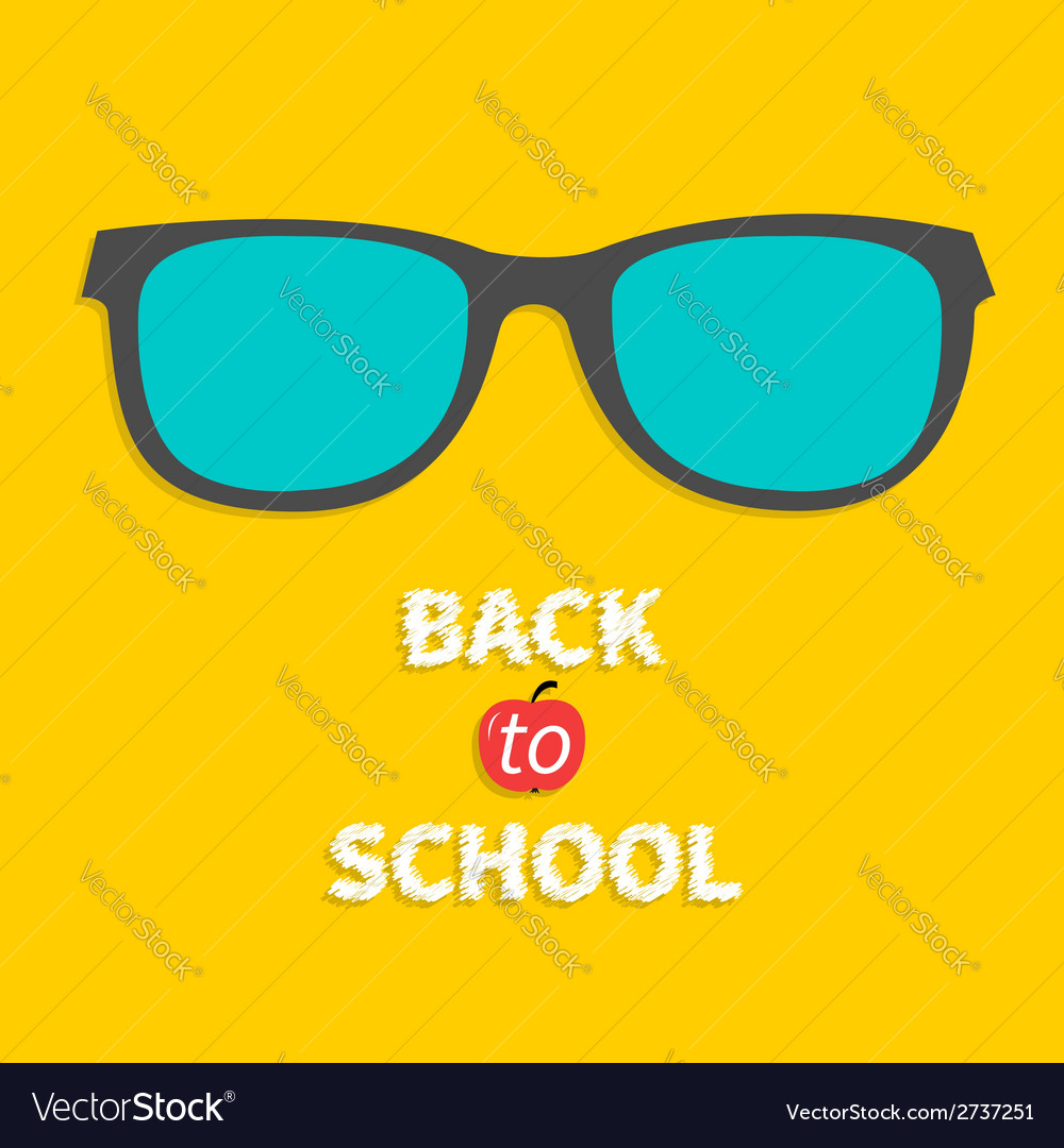 Glasses icon back to school flat design style vector | Price: 1 Credit (USD $1)