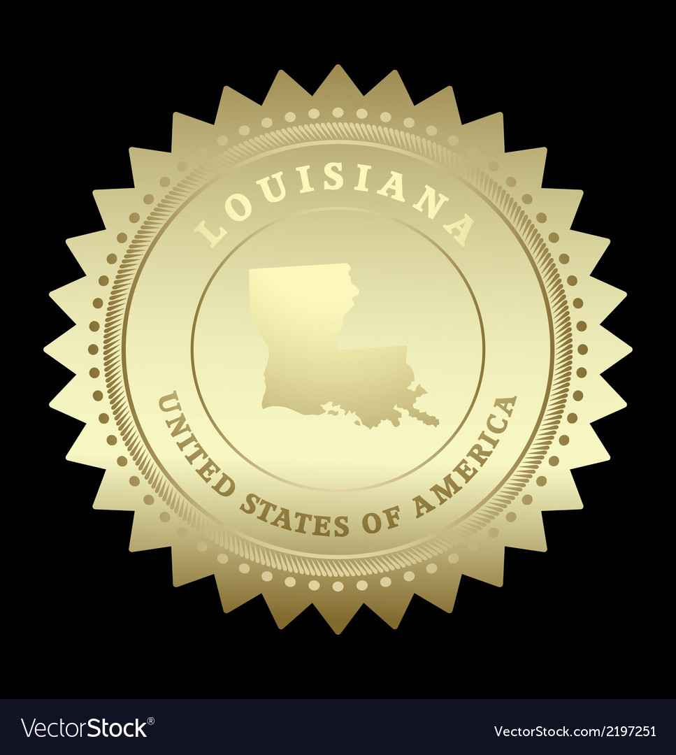 Gold star label louisiana vector | Price: 1 Credit (USD $1)
