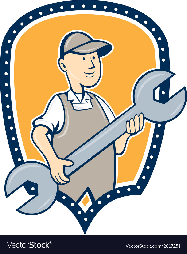 Mechanic spanner wrench shield cartoon vector | Price: 1 Credit (USD $1)