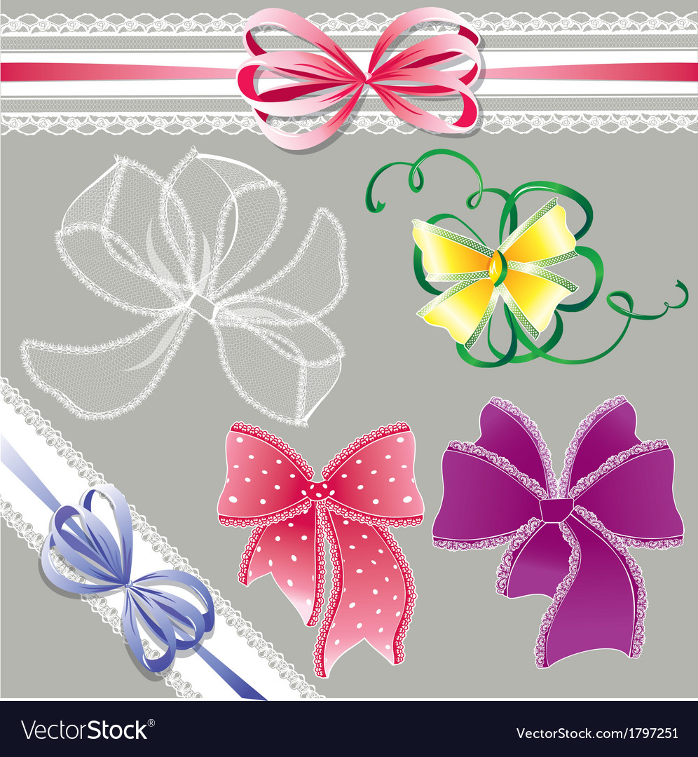 Set of different colors lace bows - for holidays vector | Price: 1 Credit (USD $1)