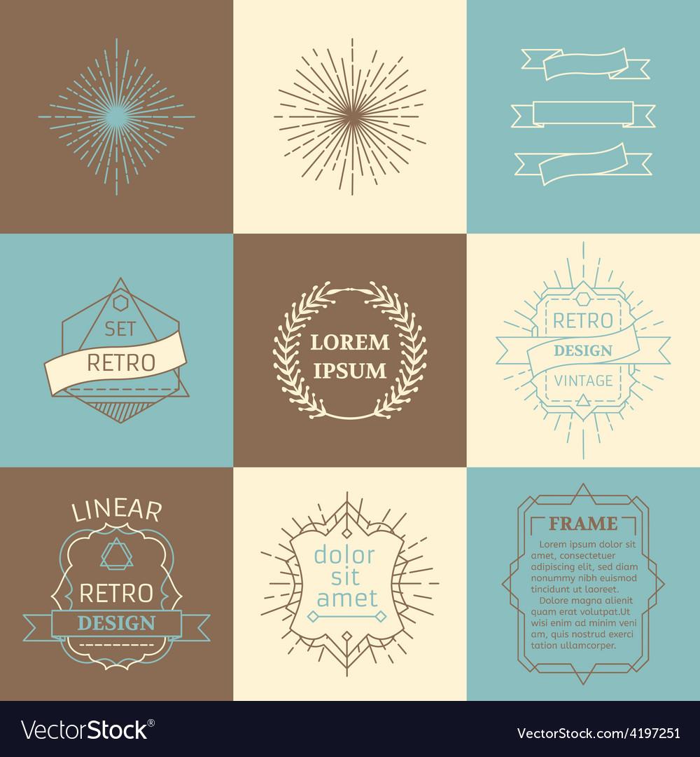 Set of outline design elements vector | Price: 1 Credit (USD $1)