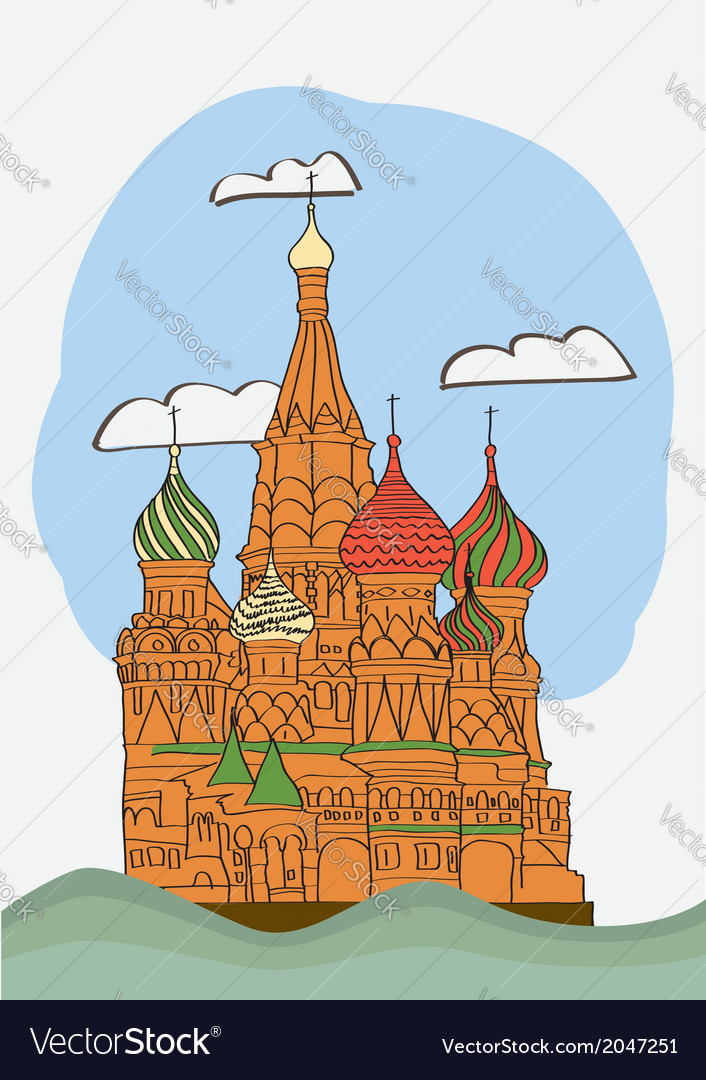 St basil s cathedral on red square vector | Price: 1 Credit (USD $1)