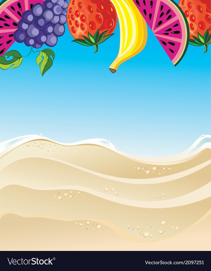 Summer with fruits vector | Price: 1 Credit (USD $1)