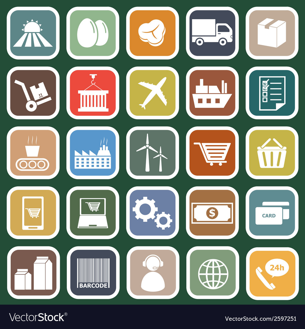 Supply chain flat icons on green background vector | Price: 1 Credit (USD $1)