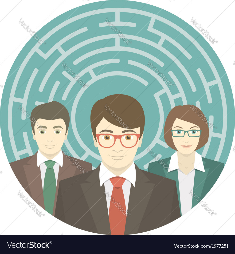 Team in labyrinth vector | Price: 1 Credit (USD $1)