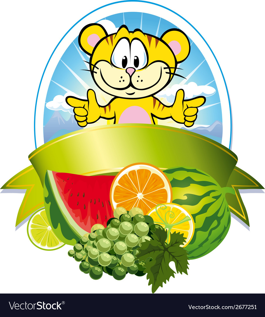 Tropical fruit label vector | Price: 1 Credit (USD $1)