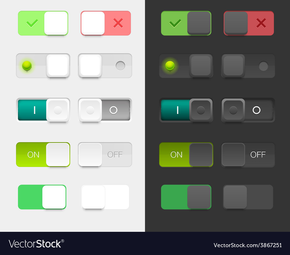 User interface set including switches vector