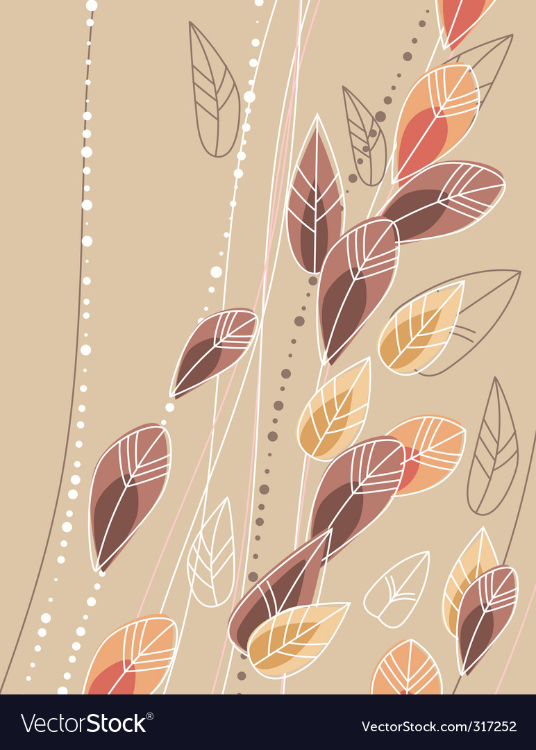 Beige background with contour leaves vector | Price: 1 Credit (USD $1)