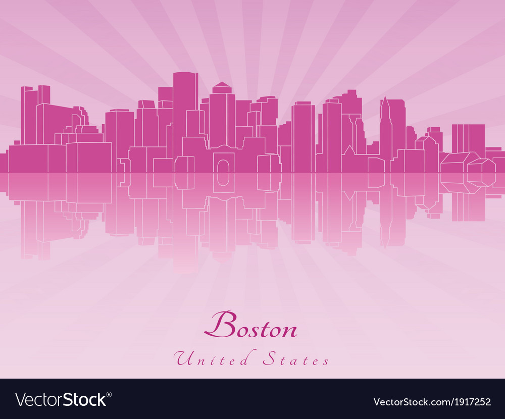Boston skyline in purple radiant orchid vector | Price: 1 Credit (USD $1)