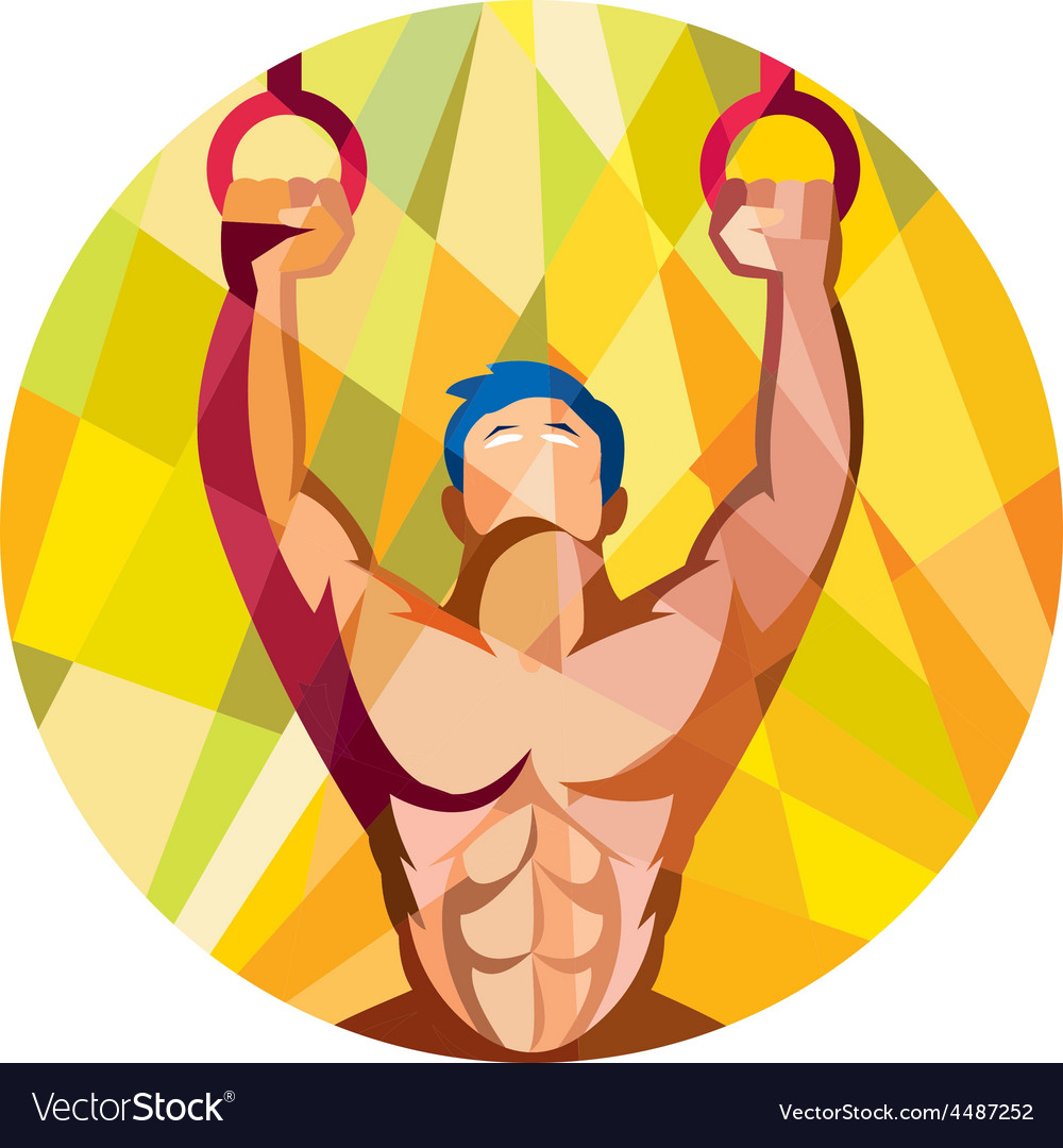 Cross-fit training weights ring circle low polygon vector | Price: 1 Credit (USD $1)
