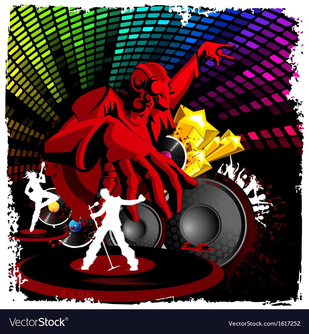 Disco jockey playing music vector | Price: 1 Credit (USD $1)