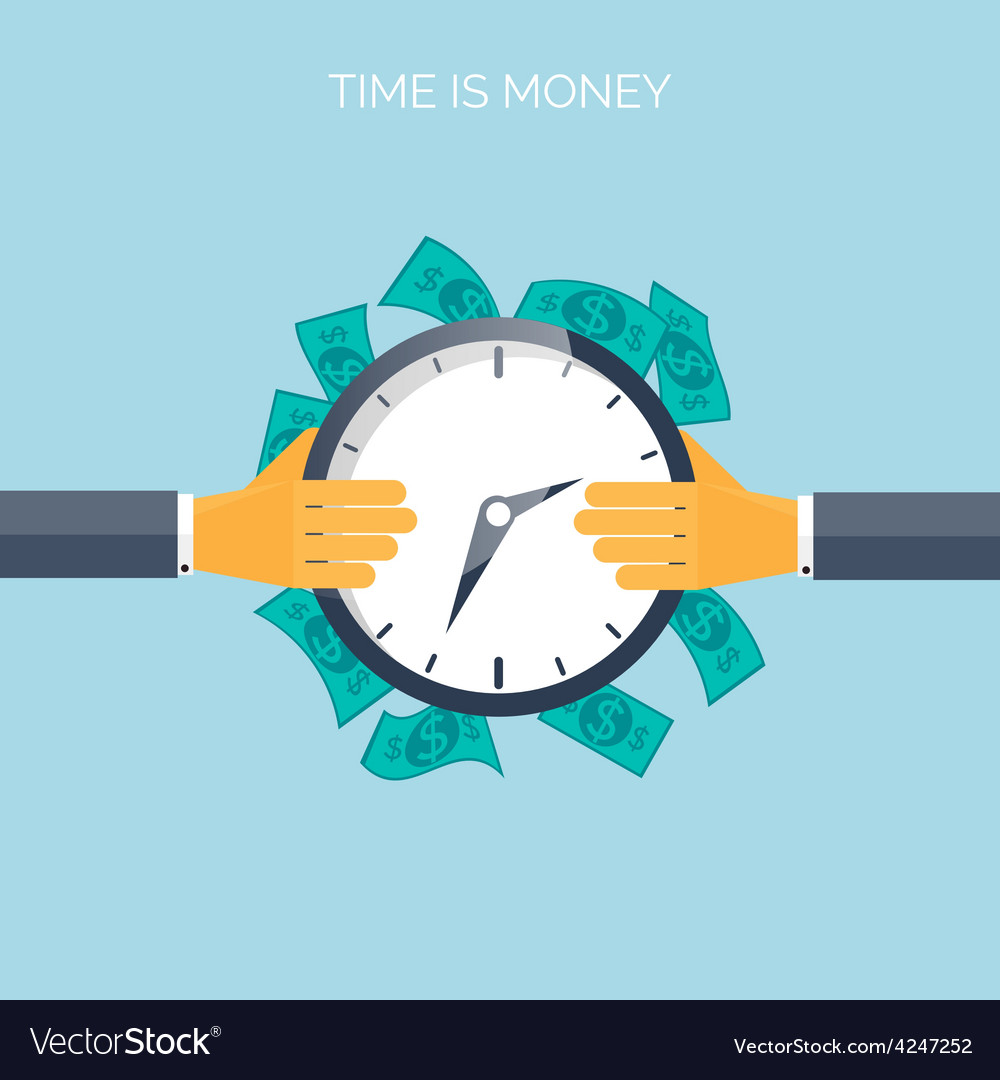 Flat time is money concept background movey vector | Price: 1 Credit (USD $1)