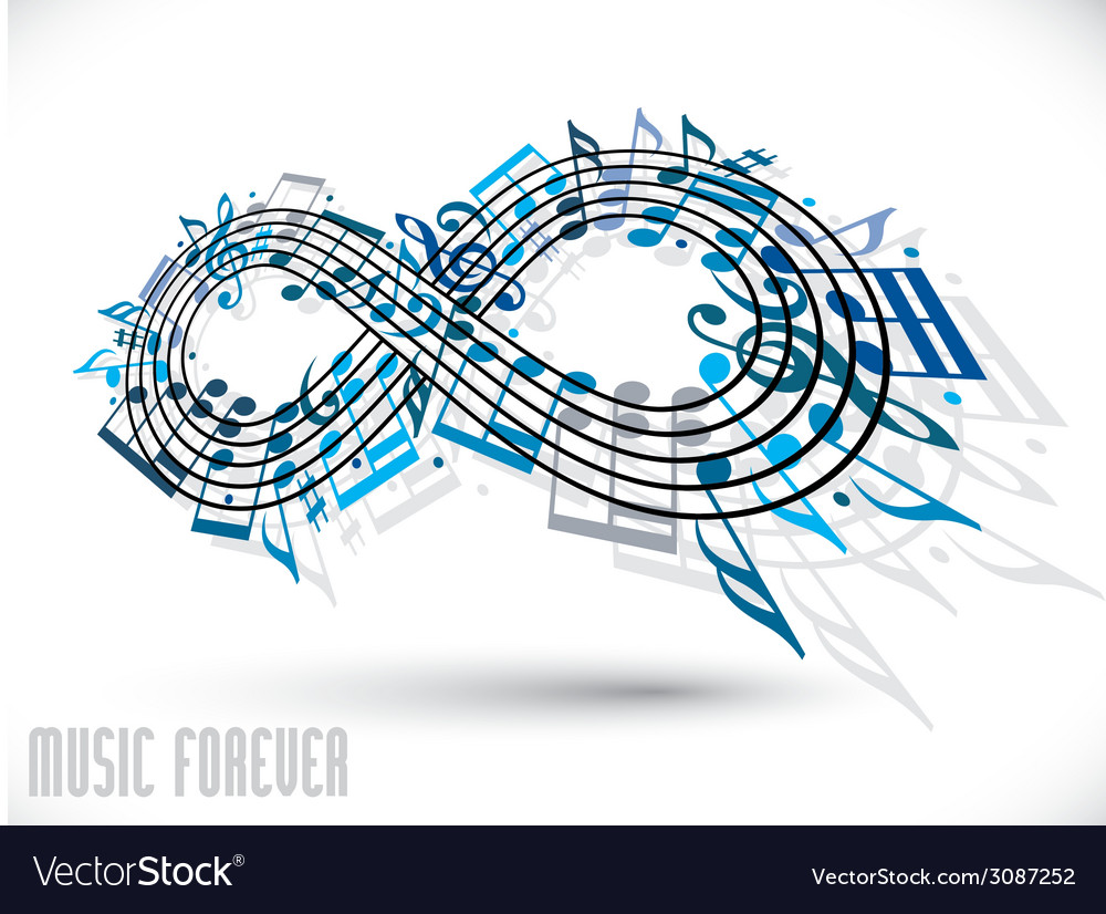 Forever music concept infinity symbol made with vector | Price: 1 Credit (USD $1)