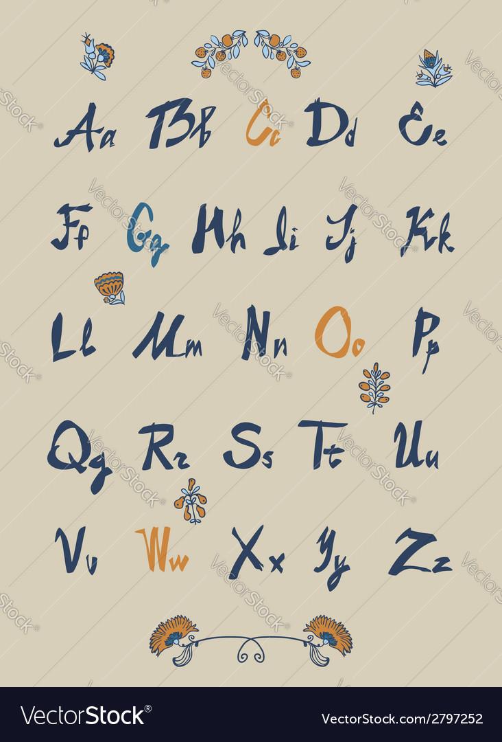Hand drawn sketch alphabet handwritten font vector   Price: 1 Credit (USD $1)