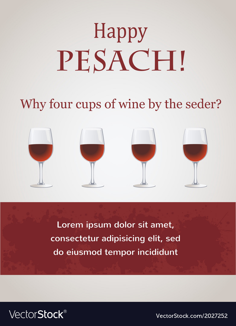 Happy passover - 4 cups of wine for seder vector | Price: 1 Credit (USD $1)